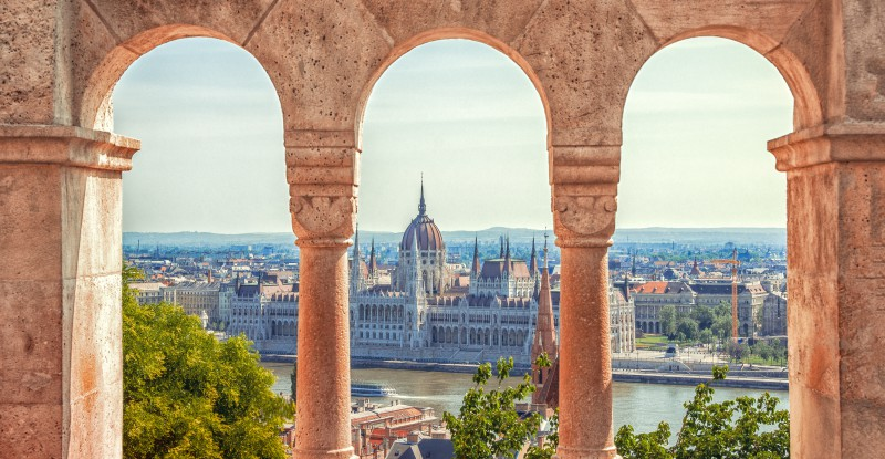 Hungary. Budapest. Parliament view through Fishermans Bastion.