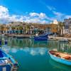 Marsaxlokk fishermen village in Malta. Panoramic view.