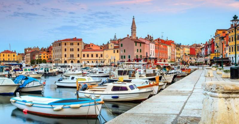 Beautiful dawn with Rovinj old town,Istria region,Croatia,Europe