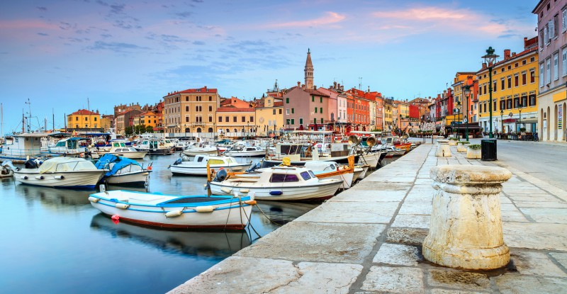 Beautiful dawn with Rovinj old town,Istria region,Croatia,Europe
