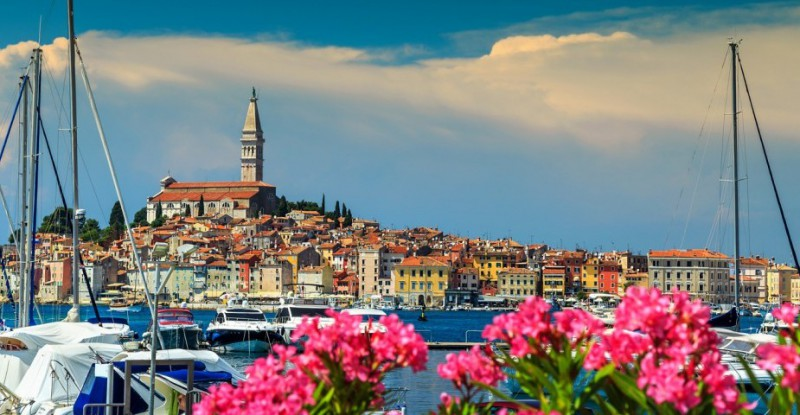 Spectacular cityscape with Rovinj old town,Istria region,Croatia,Europe
