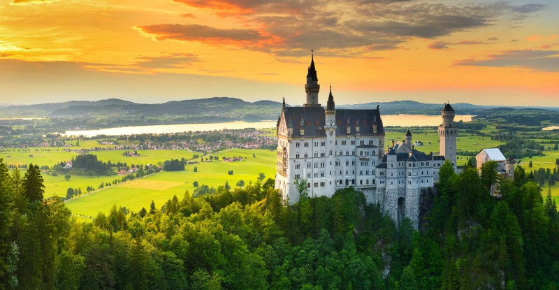 Neuschwanstein castle at sunset, Germany
