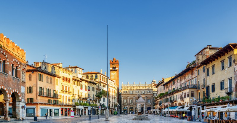View of Piazza delle Erbe in Verona (Italy) in morning