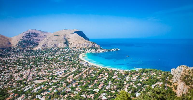 Panoramic view on Mondello beach in Palermo, Sicily.