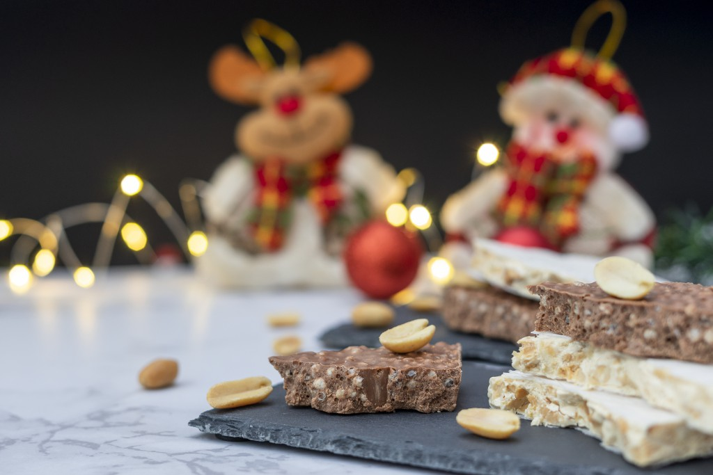 Sweet turrón with Christmas lights
