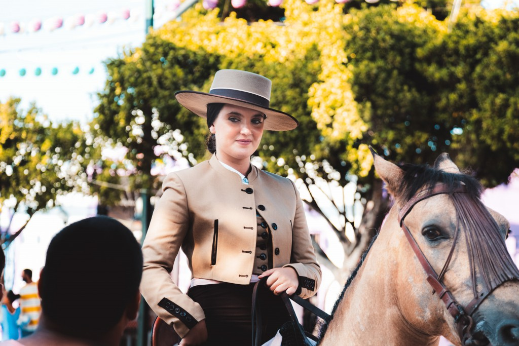 Woman on horseback for the Feria in Seville