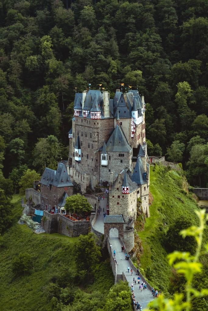 Eltz Castle overlooking the valley