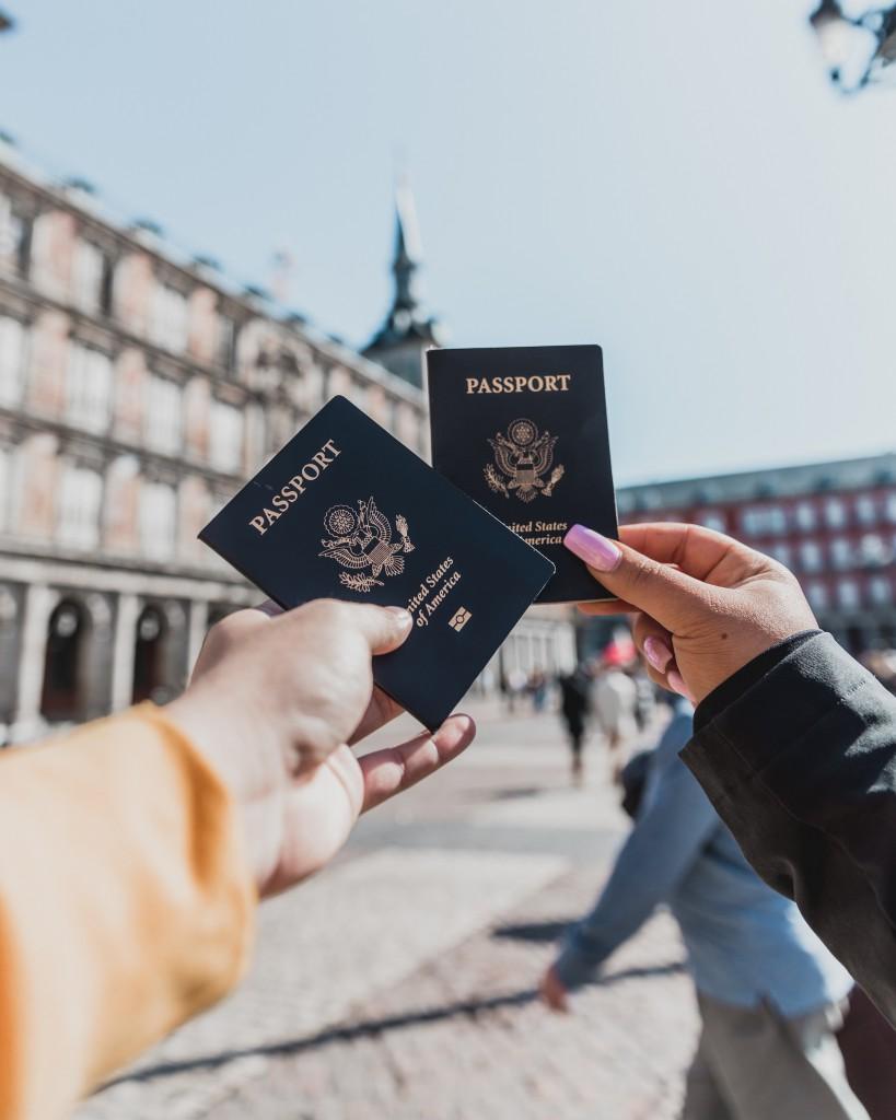 Two American travelers in Madrid, Spain